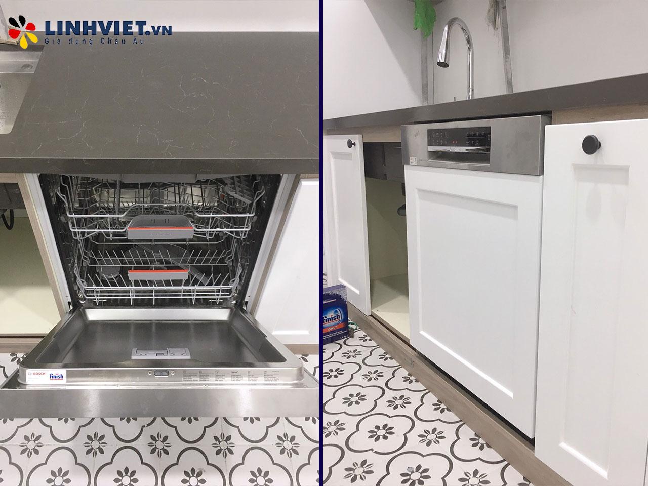 Hình ảnh thực tế khách hàng lắp Combo: Máy rửa bát, Bếp từ Bosch 6