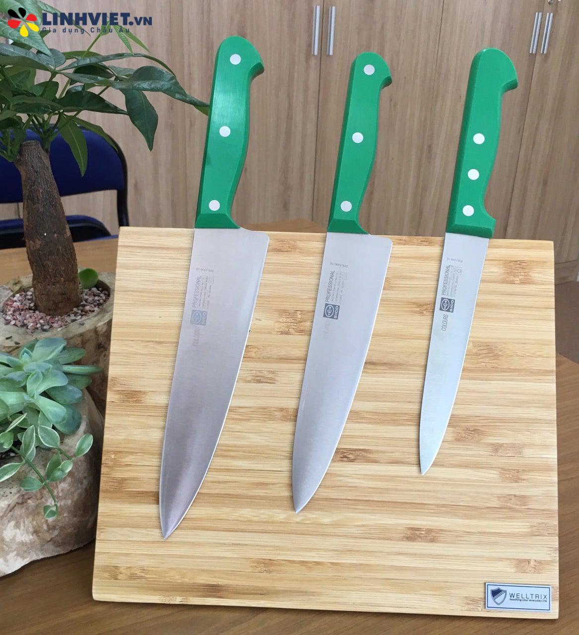 Dao chế biến thịt cán xanh lá cây có đinh tán ( 3 dao + giá gắn dao )