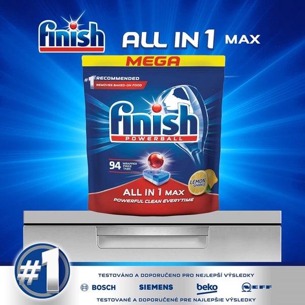 Túi 94 viên rửa chén Finish all in one max lemon 94v