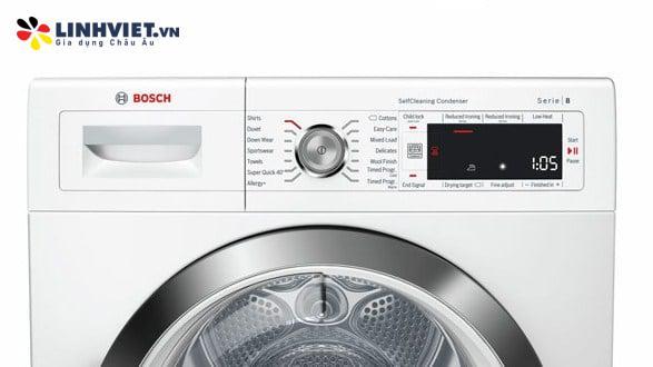 Máy sấy tụ hơi với bơm nhiệt Bosch WTW87561SG 9kg Series 8